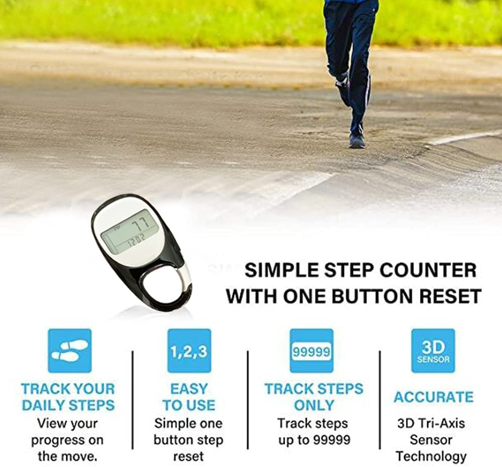 3D Digital Simple Walking Distance Clip on Pedometer Step Counter with Clip,Activity Time 7 Days Memory Walking Distance Miles/km Exercise Fitness Activity Calorie for Men Women Kids (Black) : Sports & Outdoors