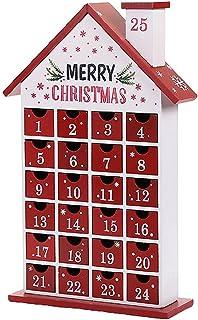 QuQiaoUK skorstenshus jul trä jul nedräkningskalender 25 dagars julfest