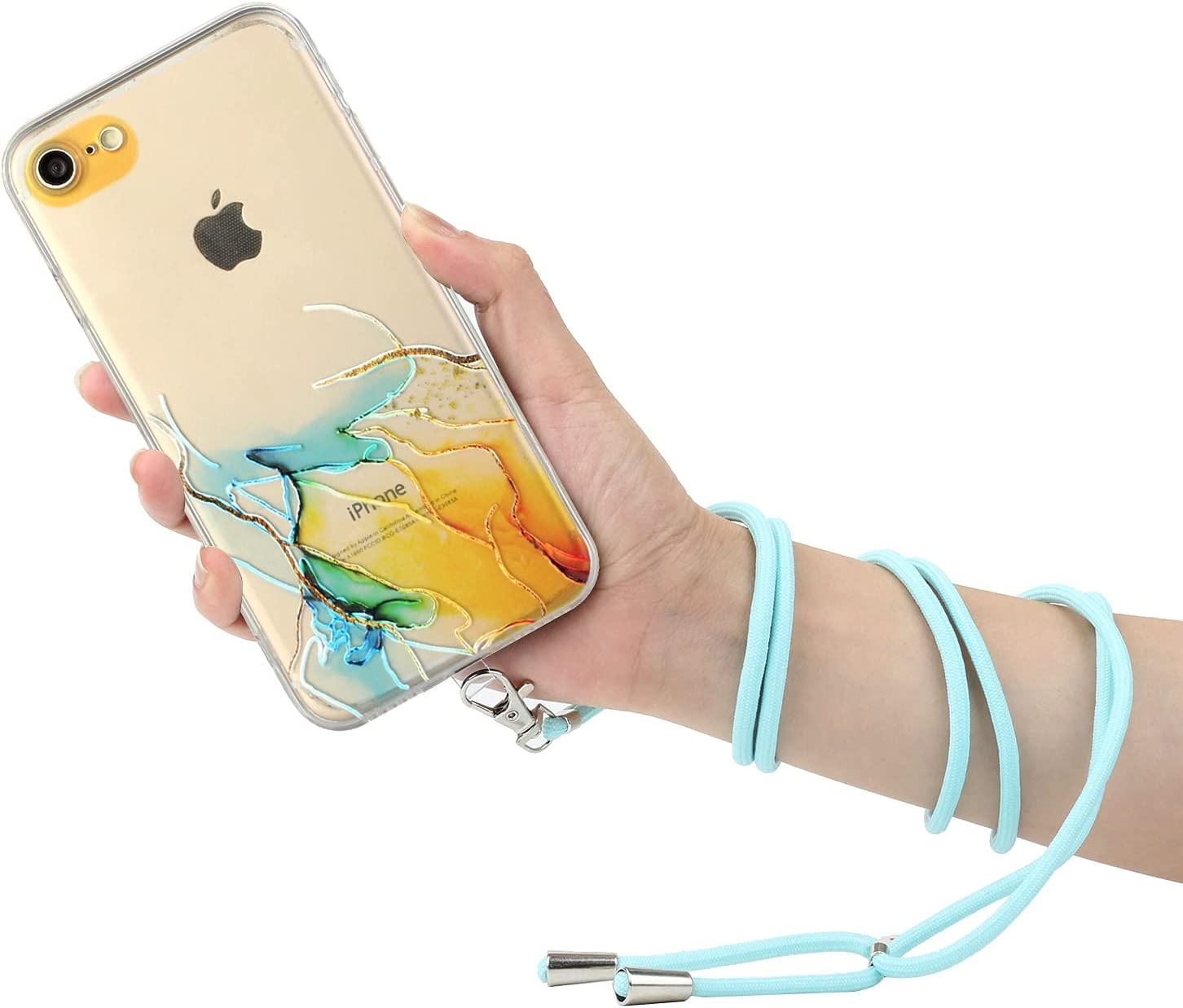 iPhone 7 Lanyard Case iPhone 8 Crossbody Case, KASOS Marble Design Flexible Clear Cover with Neck Cord Strap Transparent Silicone Adjustable Necklace Rope Case for iPhone SE2 (Yellow)