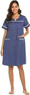 Women's Sleepwear Button Front Cotton Nightgown Short Sleeve House Dress