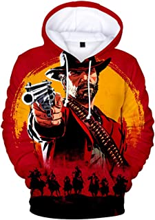 WAN&HCG 3D Hoodies Printed Hoodie Unisex Fashion Pullover Graphic Sweatshirts RED - Dead - Redemption 2 Hooded and Big Pockets
