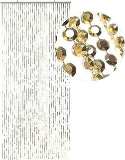HAB & GUT -DV0357- Türvorhang DIAMANTEN Gold 90x200 Perlenvorhang Pailettenvorhang