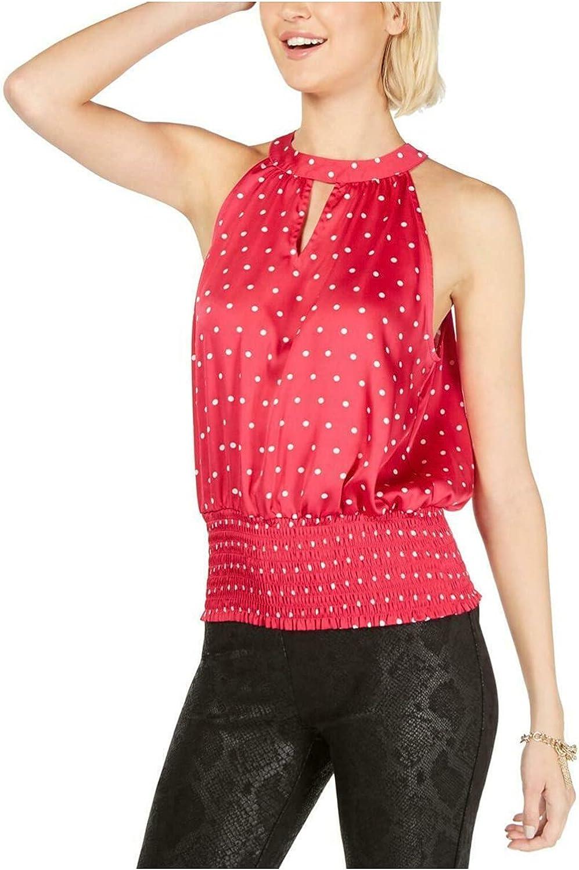 INC International Concepts Printed Sleeveless Halter Top, Pink Little Baby Dot XS