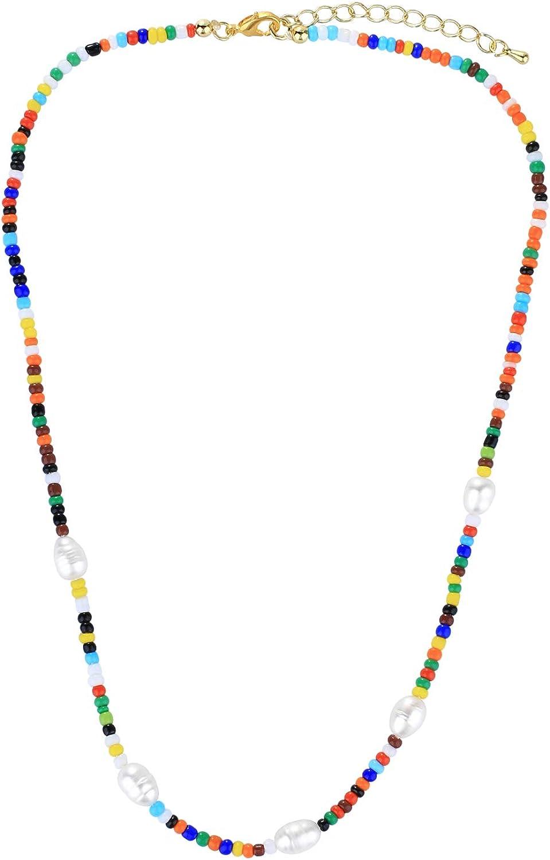 KELITCH Women Shell Pearl Miyuki Seed Beads Choker Necklaces Handmade Friendship Rainbow Color Strand Necklace Fashion Jewelry Gift