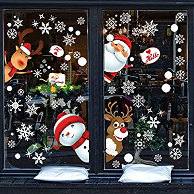 JVNVDS 130 Stickers, Santa Claus, a Lovely Deer, Snowman, Small Gifts, Such as Snow Christmas Window Stickers, Christmas Windows Decals can Remove The Sticker, Used for Christmas Decorations