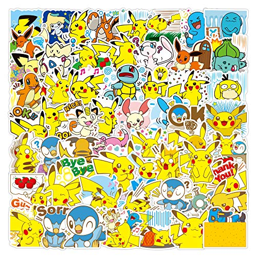 SHUYE Autocollant Pikachu Pokémon Pokémon Autocollant Mot de Passe Boîte Autocollant Bagage Autocollant 100 Pièces