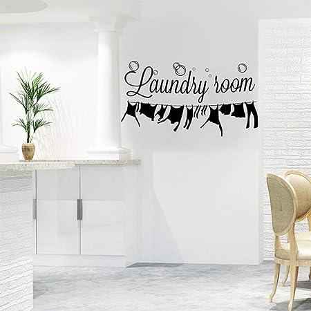 Autocollant Mural de Buanderie, Vinyle Art Lettrage Citations Murales de Laundry Room, Amovible Art Bricolage Autocollant Décor à la Maison Parfait pour Salle de Bain Buanderie