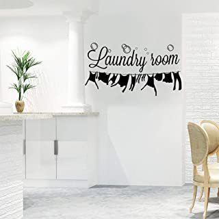 Autocollant Mural de Buanderie, Vinyle Art Lettrage Citations Murales de Laundry Room, Amovible Art Bricolage Autocollant ...