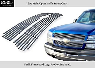 APS Stainless Steel 304 Billet Grille Grill Custome Compatible with 2003-05 Chevy Silverado 1500 03-04 2500