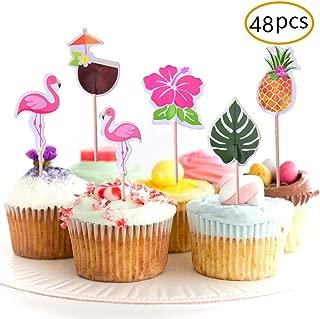 JOYET 48-Pack Cupcake Toppers for Hawaiian Luau Summer Flamingo Birthday Parties Cake Food Decoration Supplies
