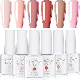 Nail Polish, AwsmColor Soak Off UV LED Gel Nail Polish Set Pastel Pink Dust Peach Rose Blush Nail Polish Kit 2020 Nail Art 6 Bottles 8ML Coral Soak Off Gels for Girl Women Manicure