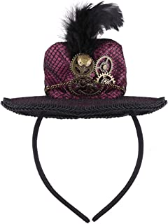 CHICTRY Steampunk Mini Top Hat Headband with Feather and Metal Gears Chain for Halloween Carnival Party Costume Accessory Burgundy One Size
