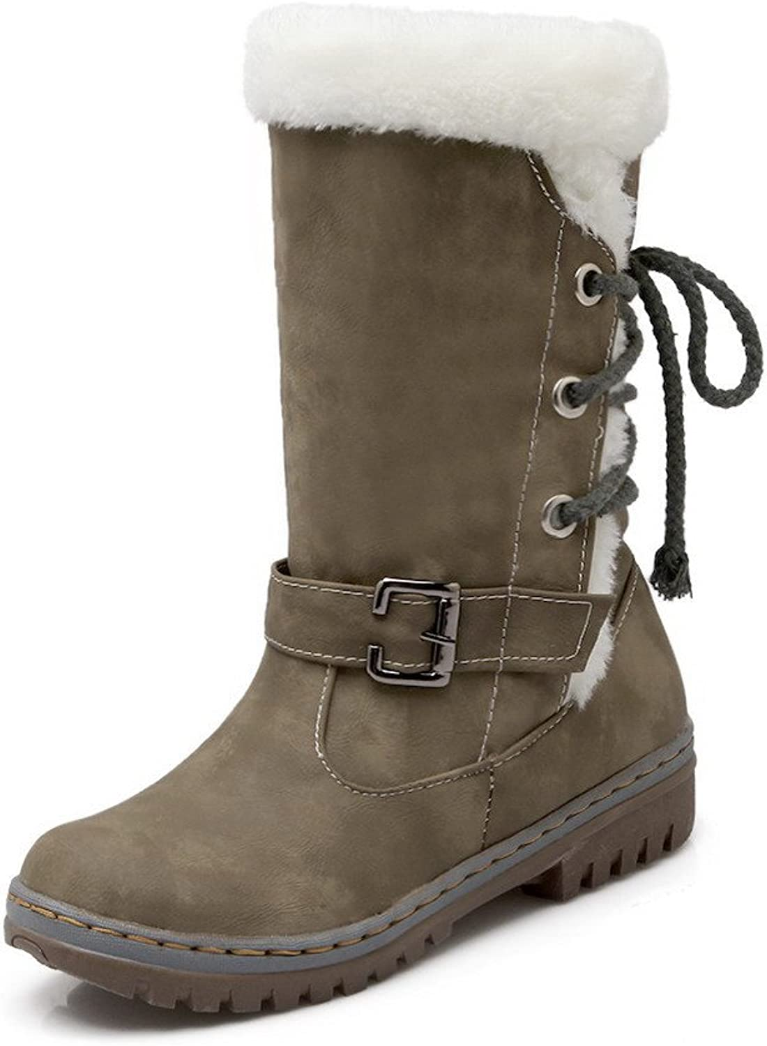 WeiPoot Women's Low-Heels Frosted Low-top Solid Pull-on Boots