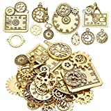 100g(30-40 PCS) Gear Pendants Antique Gold Steampunk Gearwheel Charms Clock Cyberpunk Different Styles for Jewelry Making Bracelet Necklace Decoration