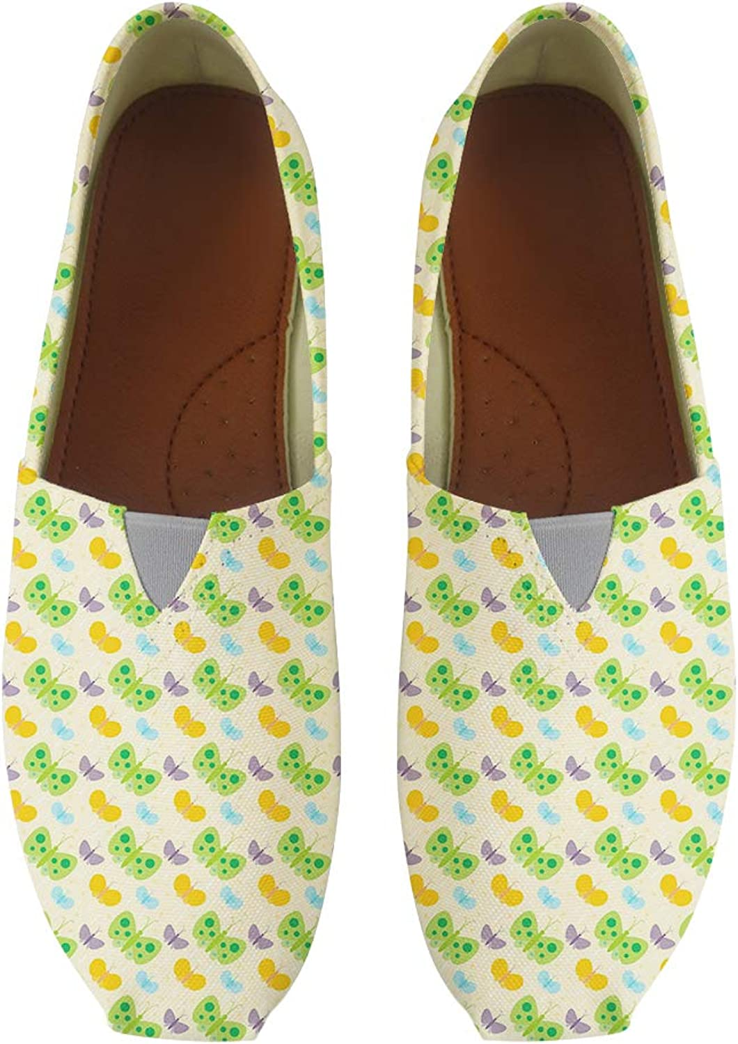Owaheson Classic Canvas Slip-On Lightweight Driving shoes Soft Penny Loafers Men Women colorful Butterflies