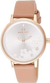 ساعة كرونوغراف بمينا بيضاء وسوار من جلد البولي يوريثين للنساء من نافي فورس - NF5012-RGWPG