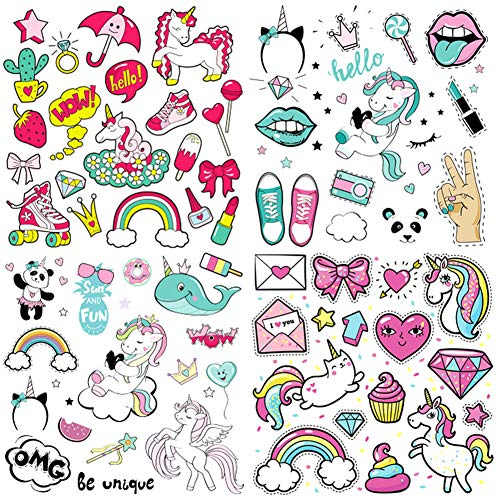 Kids Iron on Stickers Patches Unicorn Heat Transfer Stickers 4 Sheets Cute Applique Patches for Unicorn Party Favors Supplies Girls Baby DIY Unicorn Costume Accessories Washable Iron on Stickers
