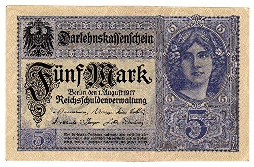 Banknoten Darlehenskassenschein 5 Mark, Deutsches Reich, 1917, Nr. X.19349107