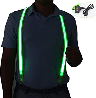 Light Up LED Suspenders USB Rechargeable,Extra Bright for Party Concert Night Club,Novelty Glowing Suspender Braces