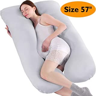 BATTOP U Shaped Full Body Maternity Pillow for Pregnant Women with Washable Premium Cotton Cover - Size 57