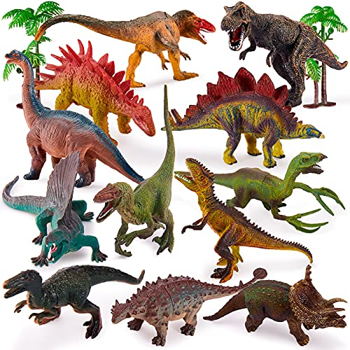 TOEY PLAY Realistic Dinosaur Figures Toys with T-rex Triceratops Stegosaurus Trees Educational Playset Gift for 3 4 5 Years Old Boys Girls, 12 Pieces