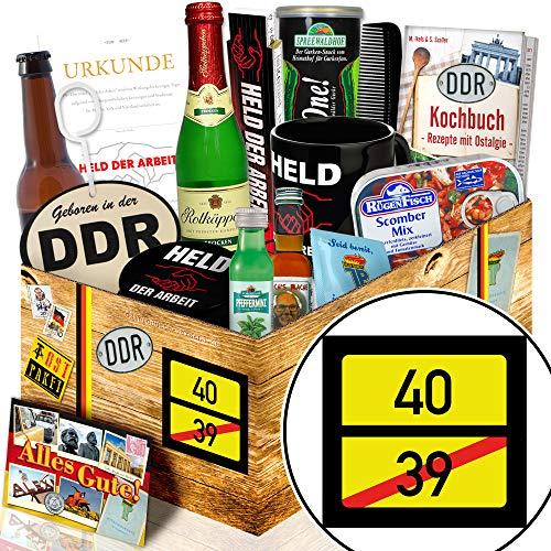 Ortsschild 40 + Geschenke zum 40ten Geburtstag + Männerset DDR