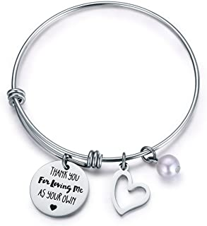 CJ&M Step Mother Gift - Thank You for Loving Me as Your Own Step Mother Bracelet,Step Mom Bracelet,Step Mom of Bride Gifts, Adoption Bracelet, Foster Mom Gift,Mother's Day Gifts