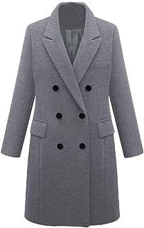 FAPIZI Womens Coat Jacket Winter Long Sleeve Double Breasted Wool Trench Coat Outwear Plus Size Slim Parka Overcoat