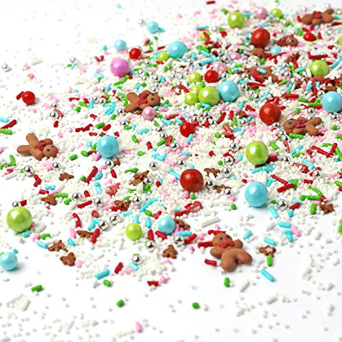 Santa's Workshop Pastel| Pink Blue White Lime Green Bright Red Royal Icing Gingerbread Men Christmas Colorful Sprinkles Mix For Baking Cake Decorations Cupcake Toppers Cookie Decorating Toppings,4OZ