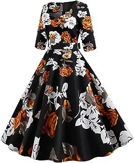 Balishion Donna Vestiti Manica Corta Donna Elegante Vestiti A-Line Mini Vestito da Swing Vintage Abito Stampa Vestito Lungo Sera Cerimonia Inverno Vestiti Spiaggia Vestito Donna Lungo Vestiti