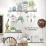 Pegatina pared plantas y baldas jardin vertical vinilo suaves colores para paredes cristal .cocina baños despensas terrazas escaparates pastelerias loft NOVEDAD 2018 de CHIPYHOME