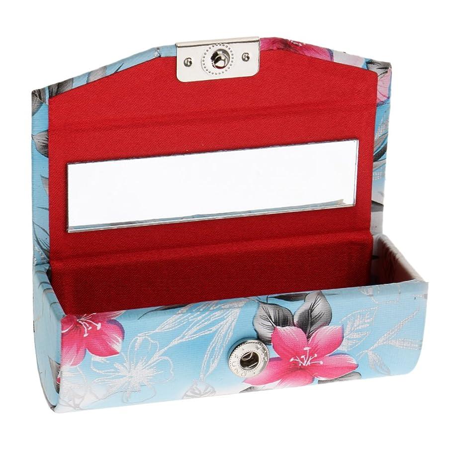 揃える教師の日レイプCUTICATE リップスティックケース リップグロス 収納ケース 収納ボックス ミラー付 贈り物 実用的 全4タイプ - 青