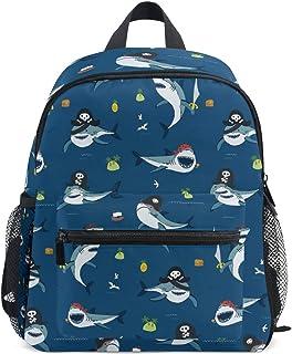 Mochila escolar pequeña con diseño de tiburón piratas azul océano para niña niño niño Mini mochila de viaje Primaria Preescolar Estudiante