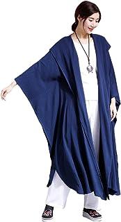 Mordenmiss Women`s New Linen Drape Cloak Trenchcoat with Hood