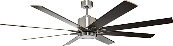 HOMEnhancements METRO 8 Blade 66 In Brushed Nickel Ceiling Fan With 16w LED Light Kit 3000k