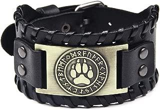 SturdCelle - Fashion Punk Men Weave Bangle Wide Leather Adjustable Wolf Claw Bracelets