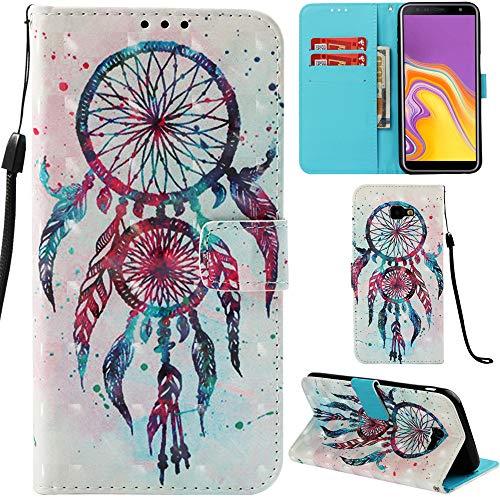 Ooboom Samsung Galaxy J4 Core Hülle 3D Flip PU Leder Schutzhülle Stand Handy Tasche Brieftasche Wallet Hülle Cover für Samsung Galaxy J4 Core - Bunt Traumfänger
