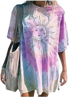 neveraway Women Summer Floral Print Short-Sleeve Lounge Round Neck Tee Shirt