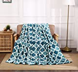 All American Collection Super Soft Ultra Comfort Plush Microfiber Solid Throw Blanket for Couch Home Bedroom Living Room (50 x 60, Beverly Teal/Aqua Trellis)