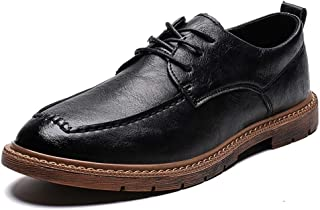 Bin Zhang Business Oxford for Men Work Shoes Lace up Microfiber Leather Lightweight Solid Color Anti-Slip Stitching Rubber Sole Round Toe (Color : Black, Size : 8 UK)