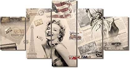 5 Panel Canvas Wall Art Marilyn Monroe Framed Pictures for Living Room Patriotic Paintings Premium Quality Brown Artwork Giclee Ready to Hang Posters and Prints Bedroom House Decor (60''Wx32''H)