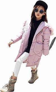 ダウンジャケット 女の子 ダウンコート ガールズ 中綿コート キッズ 子供服 中綿 コート ロング丈 フード付き 防寒 毛襟