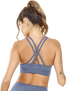 Women's Strappy Sports Bra Cute Energy Bra Medium Support Longline Padded Training Running Working Out Lounging Top