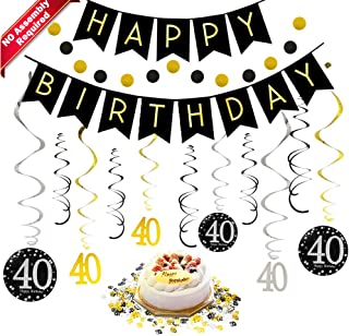 40th Birthday Decorations Kit for Men & Women 40 Years Old Party, NO Assembly Required - Black Gold Happy Birthday Banner, Hanging Swirls, Circle Dots Hanging Decoration, Number 40 Table Confetti