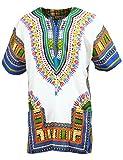 KlubKool Dashiki Shirt Tribal African Caftan Boho Unisex Top Shirt (White/Light Blue,X-Large)