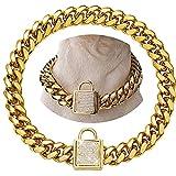 Collar para perros de oro con candado, collar de oro inoxidable para perros, collar para entrenamiento de perros, cadena con candado cubano Lin