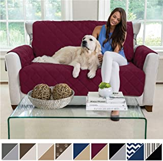 MIGHTY MONKEY Premium Reversible Loveseat Slipcover, Seat Width to 54 Inch Furniture Protector, 2 Inch Elastic Strap, Washable Slip Cover, Protects from Kids, Dogs, and Pets Love Seat, Merlot Sand