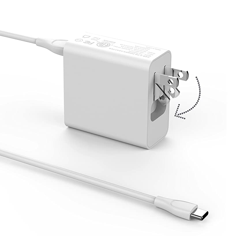 45W USB C Charger, AWS POW Portable Wall Charger with USB C to USB C Cable for Asus Chromebook Flip C213 C213S C213SA C213SA-YS02, USB C Laptop AC Adapter (Foldable Plug)