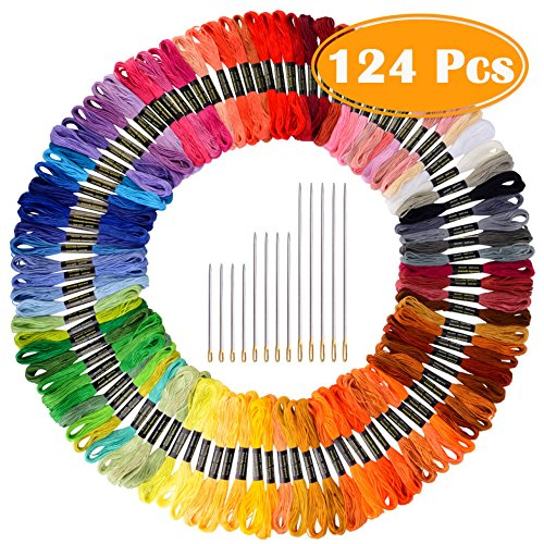 Paxcoo 124 Skeins Embroidery Floss Cross...