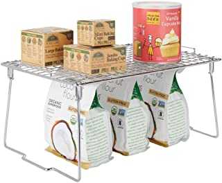 mDesign Metal Stacking Storage Shelf - 2 Tier Raised Food and Kitchen Organizer for Cabinets, Pantry Shelves, Countertops, Closet - 10.5